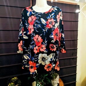 George brand floral 3/4 blouse size XL